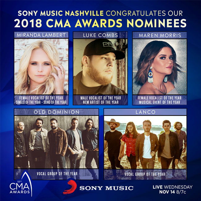 sony-music-cmaawards-nominations-2018